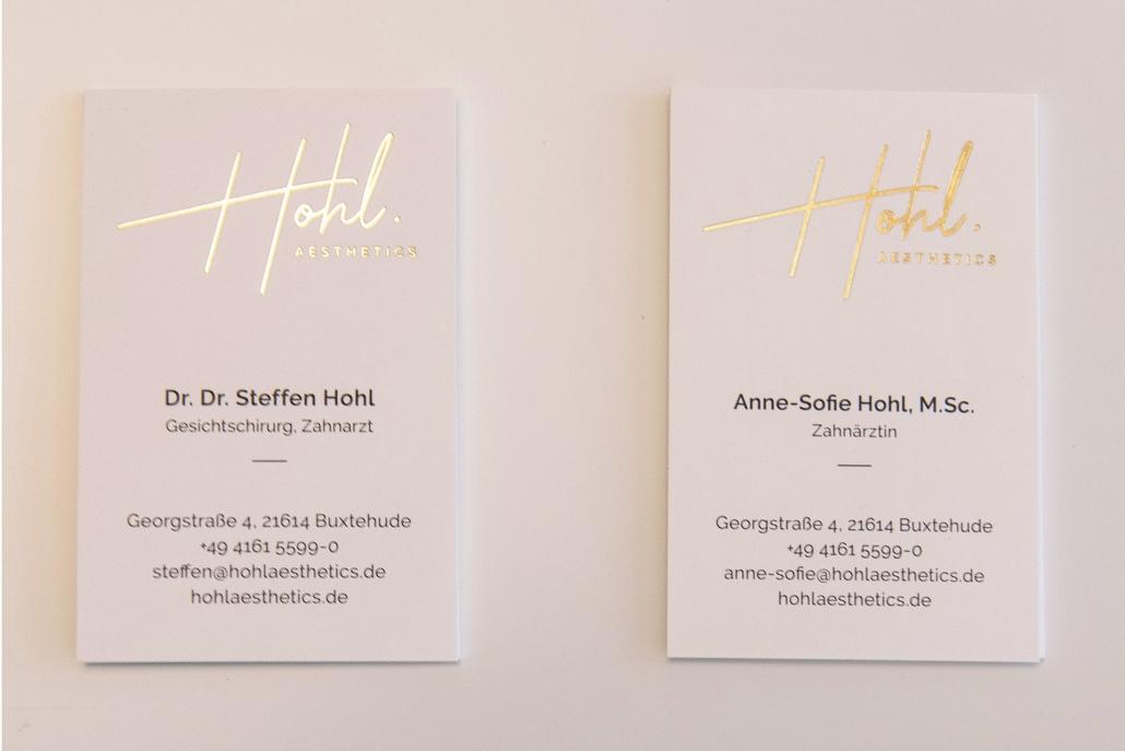 Designer Hamburg Visitenkarten mit Goldfolienprägung