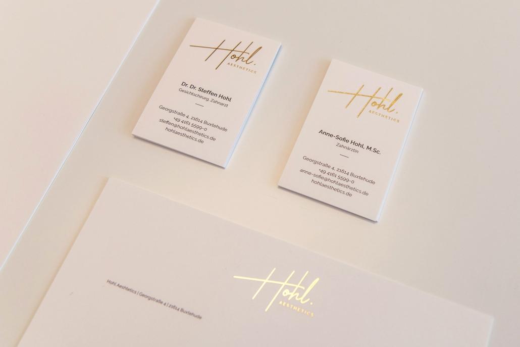 Grafikdesign Hamburg Visitenkarten Briefpapier Goldfolienpraegung
